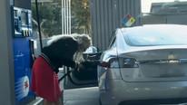 Tesla'ya benzin koymak isteyen sürücü alay konusu oldu