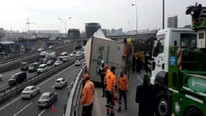 TEM'de TIR kazası ! Trafik felç oldu