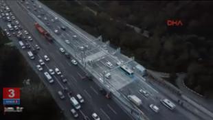 FSM'de şeritler açıldı; trafik havadan böyle görüntülendi