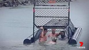 Timsah dolu nehre açık kafesle girdiler