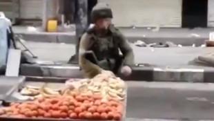 İsrailli komutan Filistinli satıcının tezgahından elma çaldı