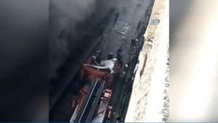 İstanbul'da sanayi sitesinde yangın; yanan binadan aşağıya atladı !