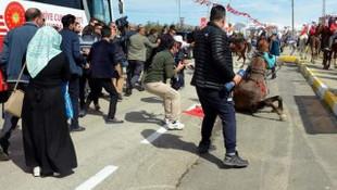 Cumhurbaşkanı Erdoğan'ı atlı ciritçiler karşıladı
