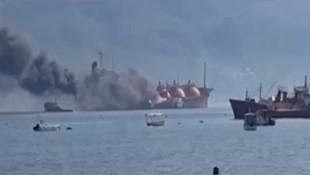 Denizde büyük panik! LPG yüklü tankerde yangın