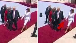 First Lady Trump'ın elini tutmadı