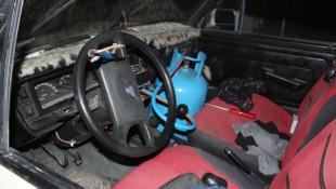 ''Tüpgaz bağımlısı''nın otomobildeki düzeneği şoke etti
