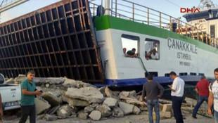 Çanakkale feribotu, Marmara Adası'nda iskeleye çarptı