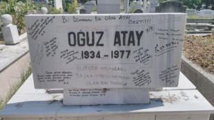 Oğuz Atay'ın kirletilen mezarı temizlendi