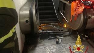 Yürüyen merdivenlerde korkunç kaza !