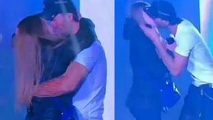 Ünlü şarkıcı sahnede hayranıyla öpüştü
