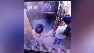 Asansördeki iğrenç taciz güvenlik kamerasında