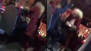 Halk otobüsünde kadınların yumruk yumruğa kavgası kamerada