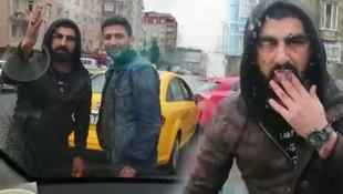 İstanbul'da skandal görüntüler ! Aracın önünü kesip tehdit ettiler