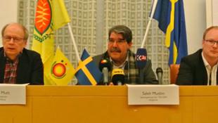 İsveç'te skandal ! PYD flaması altında Salih Müslim'i konuşturdular