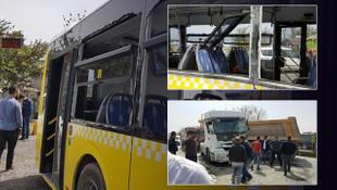 Hafriyat kamyonu İETT otobüsüne çarptı ! Yaralılar var