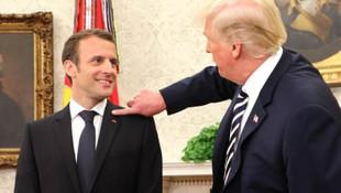 Trump ile Macron buluşmasından ilginç görüntüler