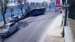 İstanbul'da Özel Halk Otobüsü dehşeti kamerada