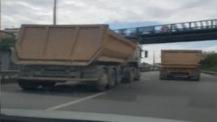 İstanbul'da kamyoncu terörü kamerada !