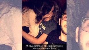 Sevgilisi başka bir erkekle öpüşürken selfie çekti !