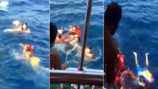 Batan bottaki kaçakları tur teknesi kurtardı