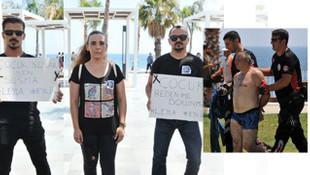 Çocuk tacizi protestosunda çocuk tacizi