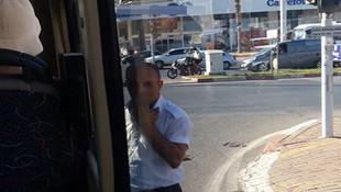 Özel Halk Otobüsü şoförünün sigara molası olay oldu