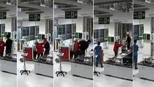 Hastanenin yoğun bakım servisinde skandal görüntüler