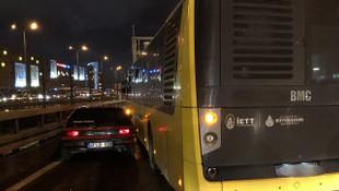 İstanbul'da trafik magandasını belediye otobüsü yakaladı