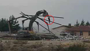 Karaman'da yıkım sırasında korkunç kaza ! O anlar kamerada