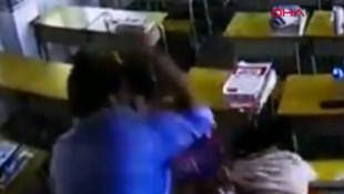 Kadın öğretmene öldüresiye veli dayağı kamerada!