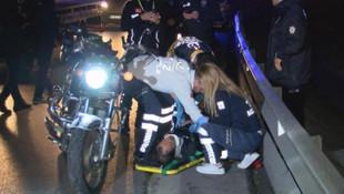 Motosikletiyle bariyere çarpan sürücü yaralandı