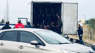 Dondurucu kasasından 41 mülteci çıktı