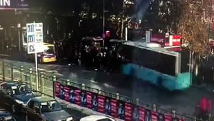 Beşiktaş'ta otobüsün durağa daldığı anlar kamerada
