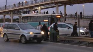 D-100'de durağa girmeden yolcu alan otobüsler isyan ettirdi