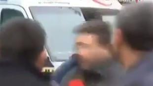 Muhabire canlı yayında saldırı kamerada!