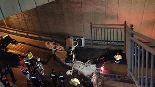 İstanbul'da korkunç trafik kazası! Köprüden uçtu!