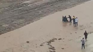 Sel sularına kapılan çocuğu vatandaşlar böyle kurtardı
