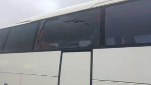 Evkur Yeni Malatyaspor'un takım otobüsüne taşlı saldırı