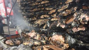 Tavuk eti yüklü TIR alev alev yandı