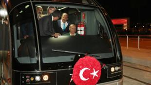 Erdoğan tramvay hattını açtı, test sürüşü yaptı