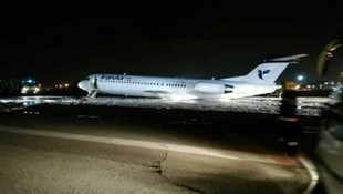 Yolcuların bulunduğu uçak alev aldı