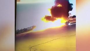 Pilotun hayatını kaybettiği uçak kazası güvenlik kamerasında
