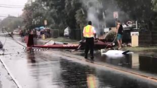 Helikopter karayoluna düştü: 3 ölü