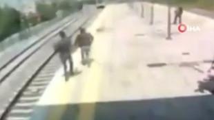 İstanbul'da intihar eden kadının son andaki kurtuluşu kamerada