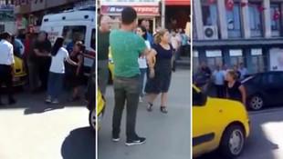 Kadın sürücü ile taksici birbirine girdi