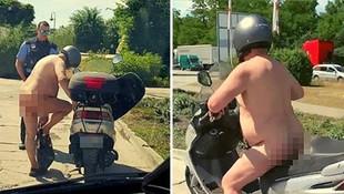 Trafikte çıplak motosikletli şoku ! Polis kızamadı