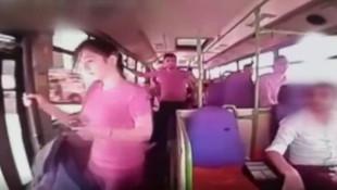 Özel halk otobüsünde genç kızın yaşadığı dehşet kamerada