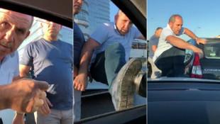 Trafikte hamile kadının bulunduğu araca saldırdılar