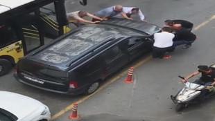 Hatalı park eden otomobile ilginç çözüm