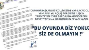 İzmir Barosu'ndan Yargıtay'ın davetine ret